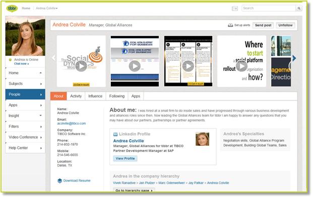 A tibbr user profile.